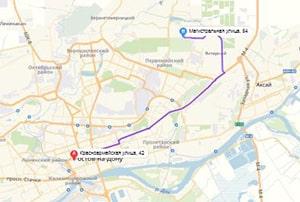 маршрут эвакуатора в ростове-на-дону: ул. Красноармейская 42 - ул. Магистральная 54 (18 км), буксир 24