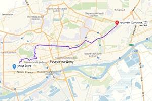 маршрут эвакуатора в ростове-на-дону: пр-т Шолохова 253 - ул. Зорге 16 (20 км), буксир 24