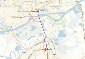 маршрут эвакуатора в ростов-на-дону: г. Батайск - г. Ростов-на-Дону (18 км), буксир 24